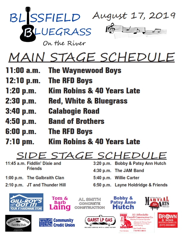 Blissfield Bluegrass on the River – Southeast Michigan